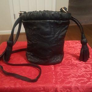 Isabella Fiore Black leather drawstring purse